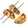 Rhinestone Spacer 2Hole 12.5x6.5mm Half Circle Gold/Crystal